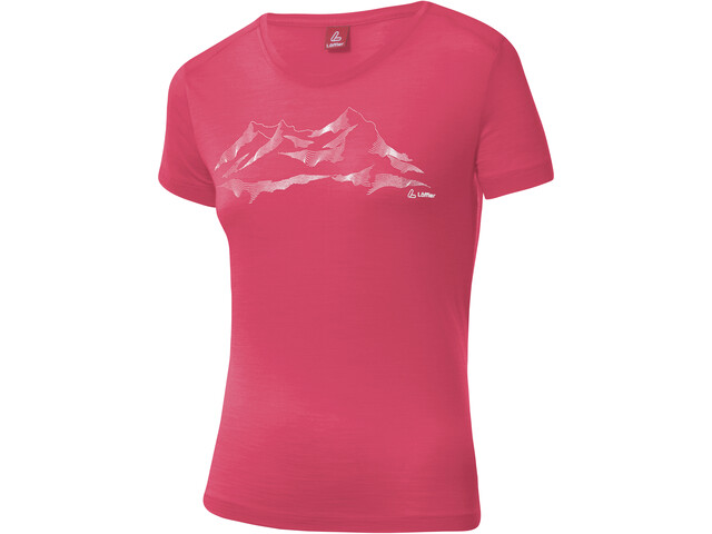 Löffler T-shirt à motif Merino Femme, flamenco